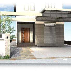 姫路エレガント住宅の外構デザイン|Uスタイルのカーポートで迫力ある外構