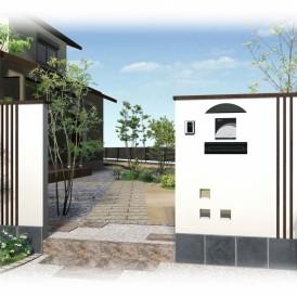 市川町現代和風住宅に似合う外構デザイン|重厚感ある和風モダンの門廻り