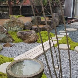 石を再利用した和庭のリノベーション工事 たつの市