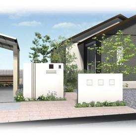 姫路市平屋建築の和風オープン外構|真っ白な塗り壁にガラスブロックがオシ...
