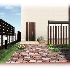 姫路庭リフォーム工事デザイン|芝生のお庭を人工芝と真砂土舗装のガーデン...