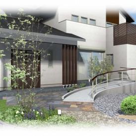 市川町和風モダン住宅のバリアフリー外構デザイン|スロープのあるお庭