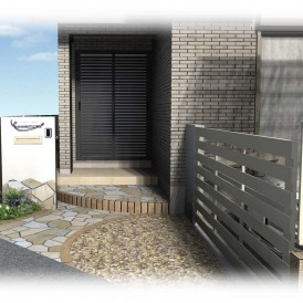 姫路市タイル張りの外壁のお家に似合う外構デザイン|袖壁門柱アールでアイ...