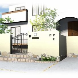 姫路三井ホームの外構デザイン|曲線を取り入れた柔らかい可愛い印象のクロ...