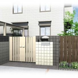 姫路旭化成の外構デザイン|ブラック&ホワイトでモノトーンカラーの門柱