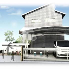 姫路シンプル住宅に似合う外構デザイン|塗り壁にボーダータイルがアクセン...