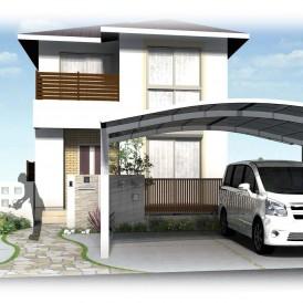 姫路新築外構デザイン|乱形石貼りアプローチと芝生とウッドデッキのお庭