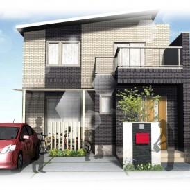姫路一条工務店のお家に似合う外構デザイン|赤色ポストがオシャレな外構