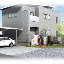 相生市一条工務店のお家の外構|広々芝生と人工木デッキお庭とアンティーク...
