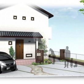 姫路市ナチュラル住宅の外構デザイン|ウッド調の角柱でオリジナル門柱と植...