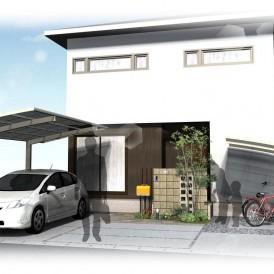 姫路市和モダン住宅の外構デザイン|オレンジポストがアクセントなオープン...