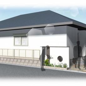 姫路市平屋建築の外構デザイン|塗り壁門柱とウッド調ラインで和モダン外構
