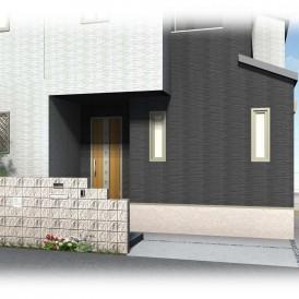 姫路新築外構デザイン|ガラスブロックの入った化粧ブロック門塀