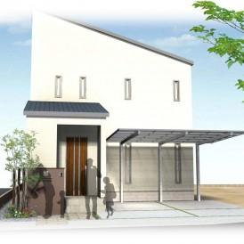 姫路市オシャレ住宅の外構デザイン|シックで大人かっこいいダークカラーの...
