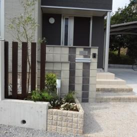 キャトルクレーレンガキューブで仕上げたモダンオープン外構 神崎郡市川町...