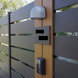 木目調のフェンスで門と目隠しモクプラボードの門周り 姫路市T様邸