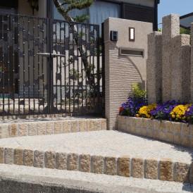 ミカゲ石オリジナル門柱の和風門廻り 姫路市N様邸