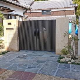 姫路市外構|和風住宅のオリジナル石門柱で和モダン外構