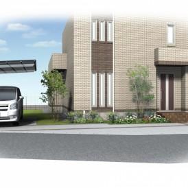 たつの市外構デザイン|塗り壁門柱にモザイクタイルがアクセントの門廻り