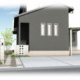 姫路市シンプルモダン住宅の外構デザイン|空洞ブロックで開放的な門廻り
